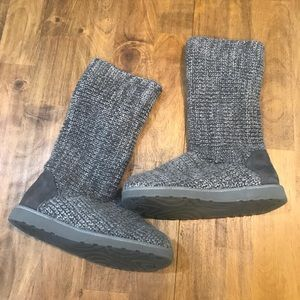 SO Grey Knitted Fold Over Boots